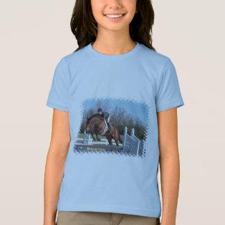 Camiseta Cavalos e t-shirt da menina de salto da mostra