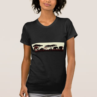 Camiseta Cena africana da paisagem do safari da silhueta