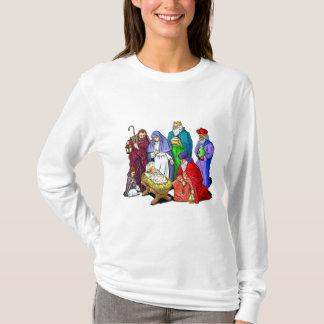 Camiseta Cena colorida da natividade do Natal