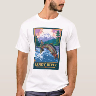 Camiseta Cena da pesca com mosca - rio de Sandy, Oregon