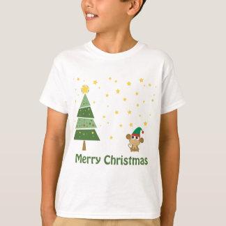 Camiseta Cena do Natal da noite com macaco bonito