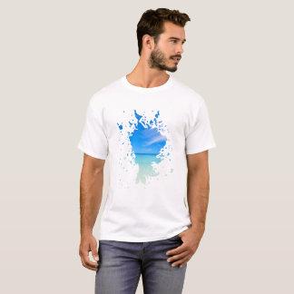 Camiseta Cenário branco azul da água do splatter da praia