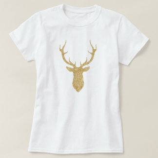 Camiseta Cervos do Natal do brilho do ouro do falso