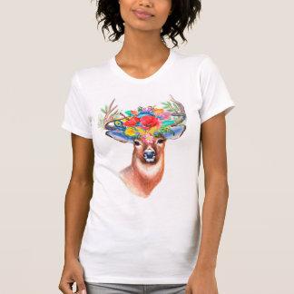 Camiseta Cervos florais da aguarela boémia