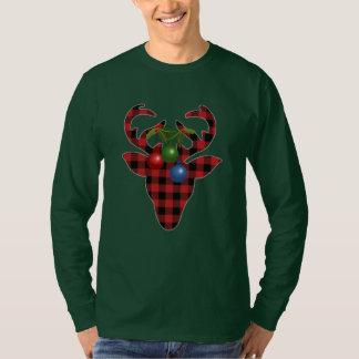 Camiseta Cervos no t-shirt do Natal da xadrez
