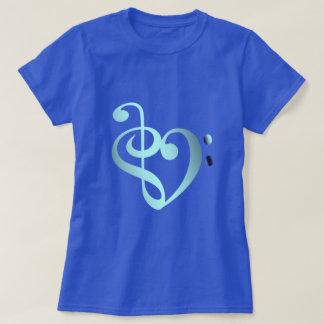 Camiseta Céu azul do coração da música na forma do coração
