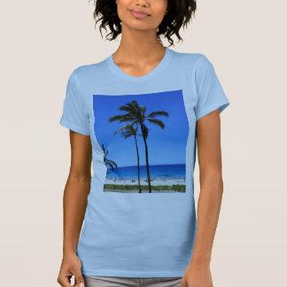 Camiseta Céus e palmeira havaianos azuis