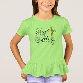 Camiseta Chamada alta com cruz e escritura
