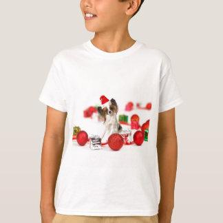 Camiseta Chapéu bonito do papai noel do Natal do cão de