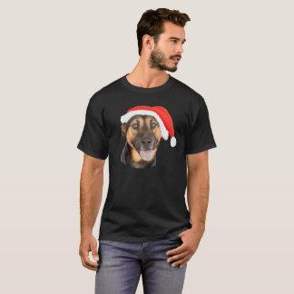 Camiseta Chapéu do papai noel do Natal do cão de german