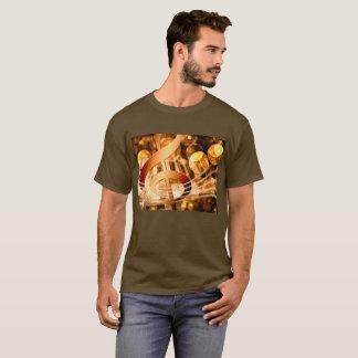 Camiseta Chaves douradas Bokeh do Clef & do piano de triplo