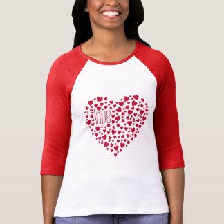 Camiseta Cheio dos corações do vermelho do amor dos