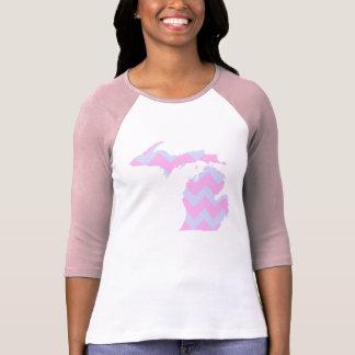 Camiseta Chevron azul do divertimento bonito e cor-de-rosa