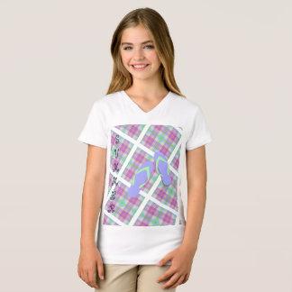 Camiseta Chinelos do verão da xadrez