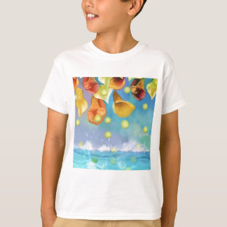 Camiseta Chovendo bolas de tênis sobre o mar