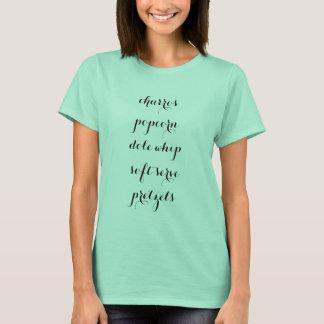 Camiseta churros, pipoca, chicote do dole, saque macio,