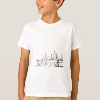 Camiseta cidade fabulosa. trabalhos de arte. preto e branco