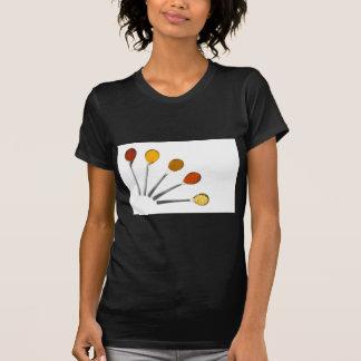 Camiseta Cinco especiarias de tempero em colheres do metal