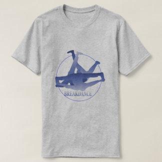 Camiseta Cinza básico azul da dança de ruptura