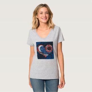 """Camiseta Cinza da urze das mulheres """"um"""" t-shirt do"""