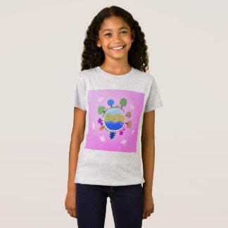 Camiseta Cinza do t-shirt das meninas com globo