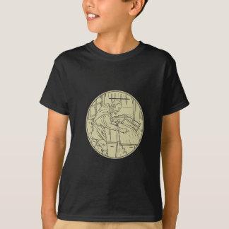Camiseta Círculo de madeira do Sawing medieval do