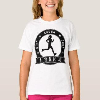 Camiseta Círculo fêmea FUNCIONADO do riso amor vivo (preto)