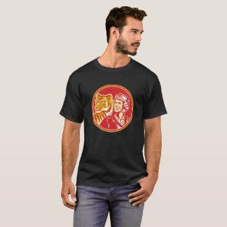 Camiseta Círculo piloto T-Shir retro do tigre do aviador da
