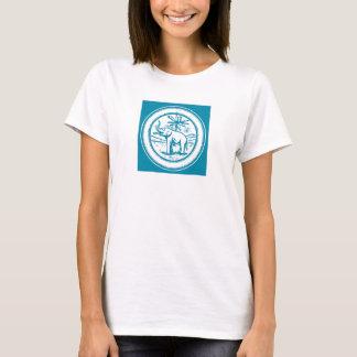 Camiseta Círculo retro da palmeira do elefante no azul da
