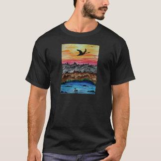 Camiseta Cisnes pretas no por do sol