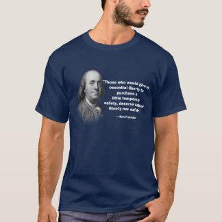 Camiseta Citações do controlo de armas de Ben Franklin - a