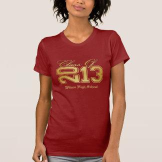 Camiseta Classe elegante do vermelho e do ouro de 2013