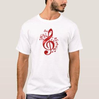 Camiseta Clef de triplo vermelho com notas de fluxo da