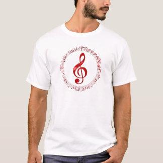 Camiseta Clef de triplo vermelho em notas da música