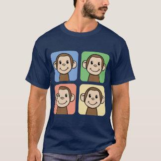 Camiseta Clipart dos desenhos animados com os 4 macacos