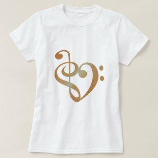 Camiseta Cobre do coração da música na forma do coração do