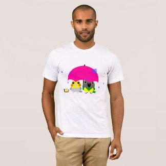Camiseta Cockatiel do オカメインコオウム e papagaio & guarda-chuva
