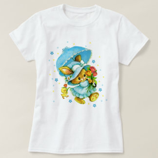 Camiseta Coelhinho da Páscoa e pintinho do vintage. T-shirt