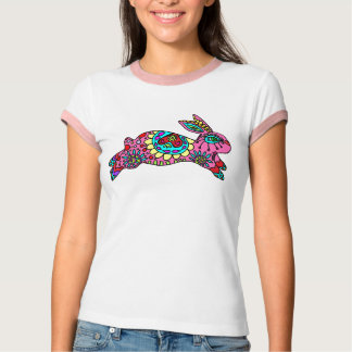 Camiseta Coelho cor-de-rosa bonito do caleidoscópio do