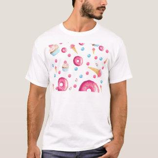 Camiseta Colagem cor-de-rosa da rosquinha