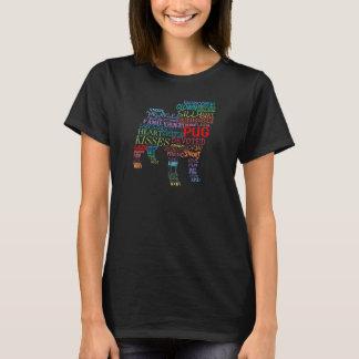 Camiseta Colagem da palavra do Pug - na cor