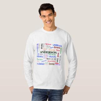 Camiseta Colagem do nome da nuvem da palavra da linhagem da