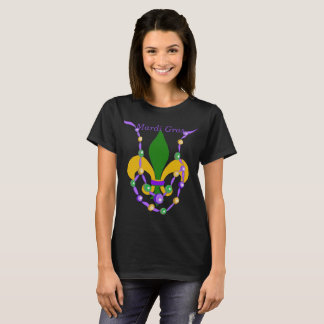 Camiseta Colar e flor de lis do grânulo do carnaval