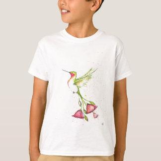 Camiseta colibri da cauda da flor