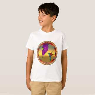 Camiseta Colibri de turquesa da janela de vitral
