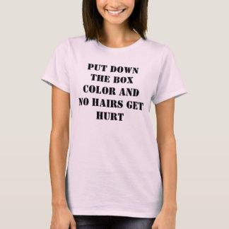 Camiseta Coloque a cor da caixa e nenhum cabelo obtem