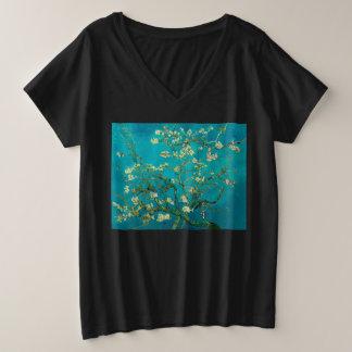 Camiseta Com Gola Em V Plus Size Árvore de amêndoa de florescência