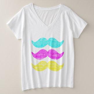 Camiseta Com Gola Em V Plus Size Bigodes amarelos magentas cianos