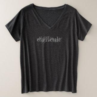 Camiseta Com Gola Em V Plus Size Ferro difícil da mulher