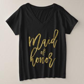Camiseta Com Gola Em V Plus Size Ouro do falso do V-Pescoço do Mais-Size da